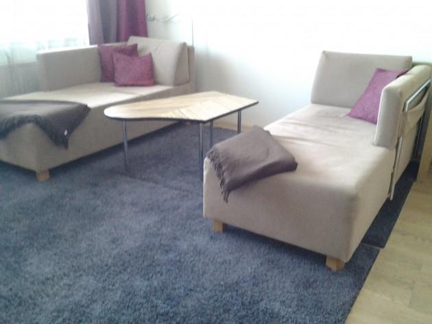 Olohuoneen divaaneilla voi loikoilla ylväänä.