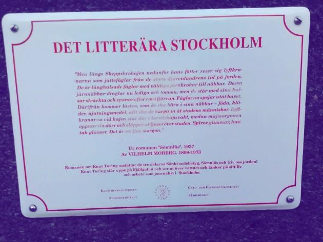 Kirjalliset kyltit Tukholmassa  - seitsemisenkymmentä tekstinpätkää ja tiedonpalasta paikoista, joita kirjallisuudessa kuvaillaan.