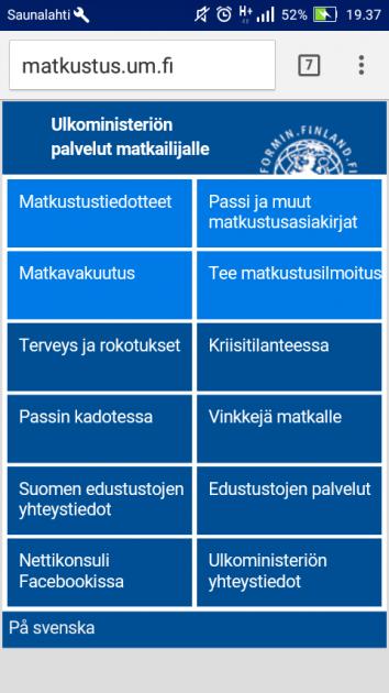 Ulkoministeriö tarjoaa matkailupalveluja matkustus.um.fi-sivustolla. Kuvakaappaus verkkosivusta.