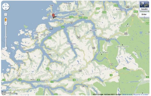 Kartta Norjan länsirannikosta