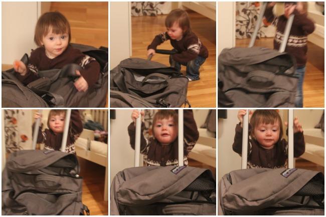 Mini pakkaamassa matkaa varten