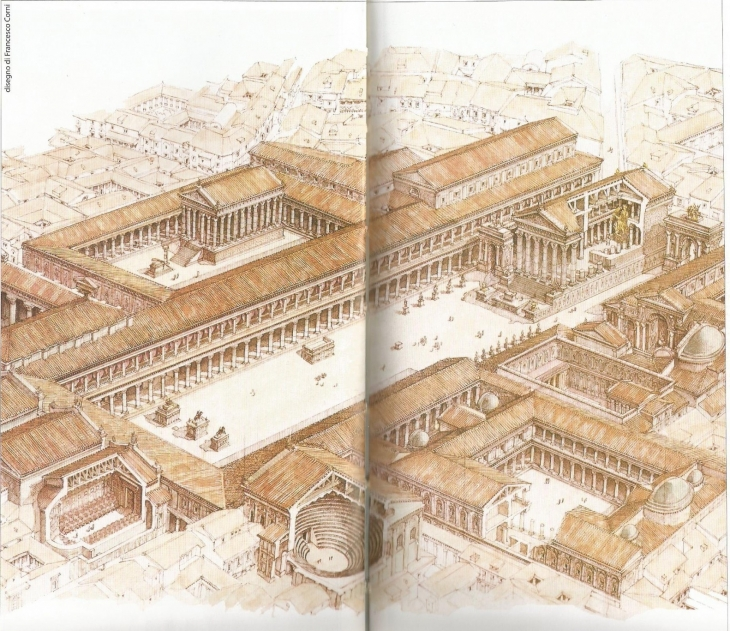 Imaginary reconstruction of the Forum/Pompei, under the vulcano