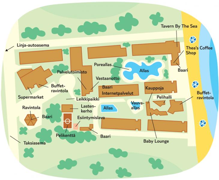 Alcudia Pins hotellin aluekartta. kuva Finnmatkat