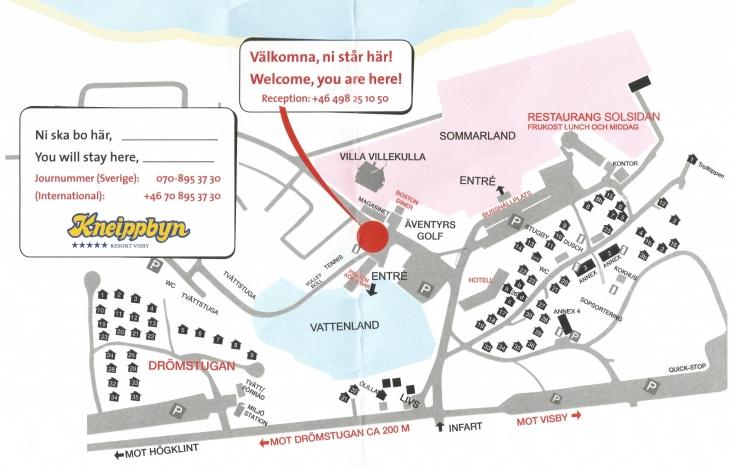 Kneippby resortin aluekartan saa Sommarlandin ja Vattenlandin välissä sijaitsevasta vastaanotosta (reception)