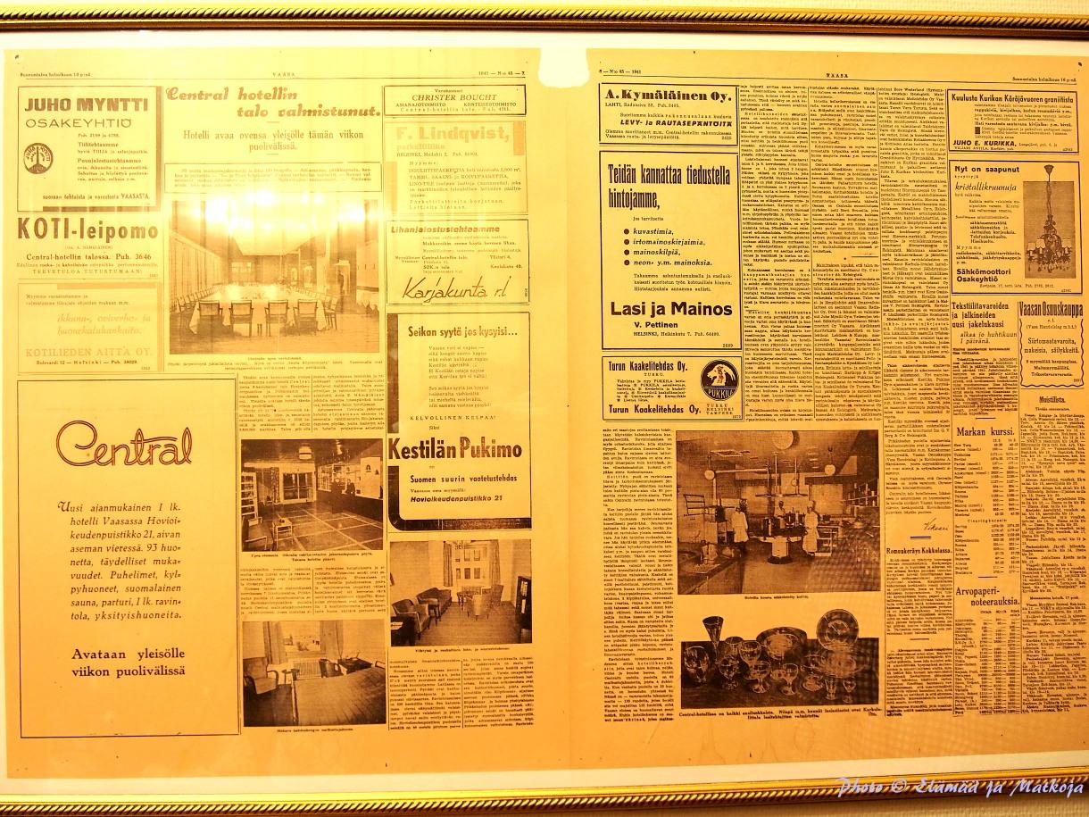 Uuden ajanmukaisen 1. luokan hotellin, Centralin, lehti-ilmoitus vuodelta 1941.