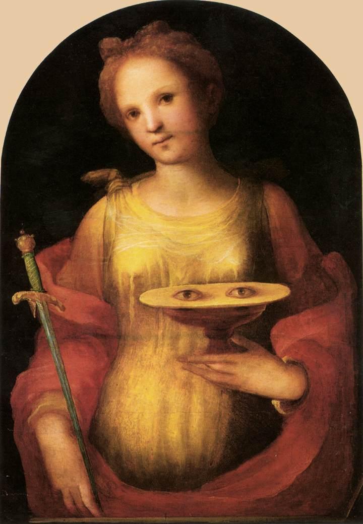 Pyhä Lucia, jonka silmät ovat lautasella. Domenico di Pace Beccafumin maalaus vuodelta 1521. Kuva Wikipedia