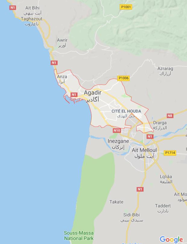 Marokko, Agadirin alueen kartta, nähtävää, Taghazout, Sidi Bibi, Tamraght, Imouzzer, Ait Melloul