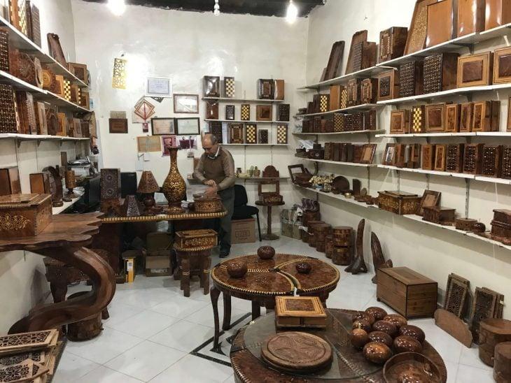 Marokko Agadir nähtävää, ostoksia: souk puutavarakauppa