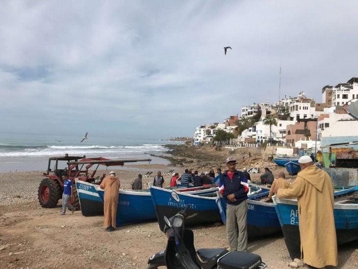 Marokko Agadir nähtävää, Taghazout kalastajakylä, suffauskeskus, joogaa, ratsastusta, ranta, hotelleja