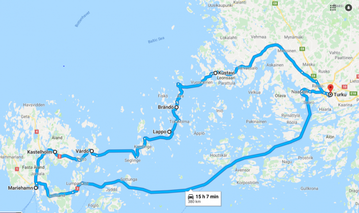 Saaristokierroksen reitti, Ahvenanmaa