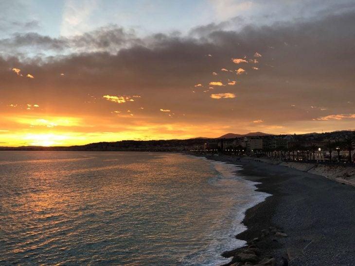 French Riviera Nice Sunset, Ranskan Riviera, Nizza auringonlasku nahtavaa
