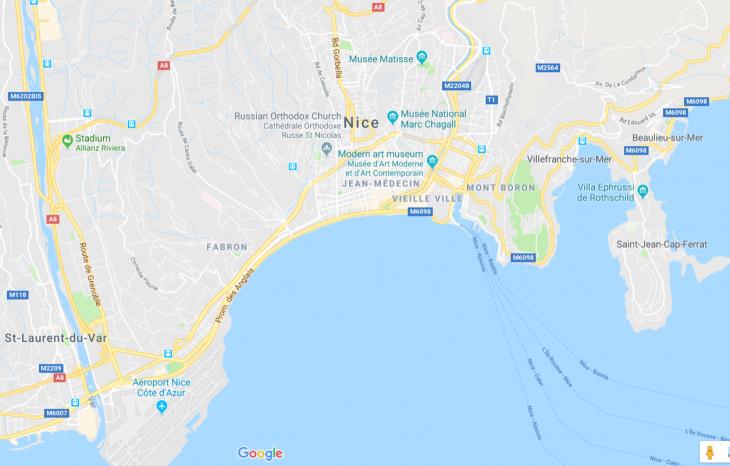 French Riviera Nice map, Ranskan Riviera, Nizza kartta