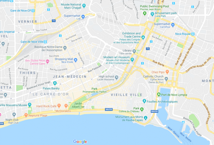 French Riviera, Nice city map, Ranskan Riviera, Nizza kartta