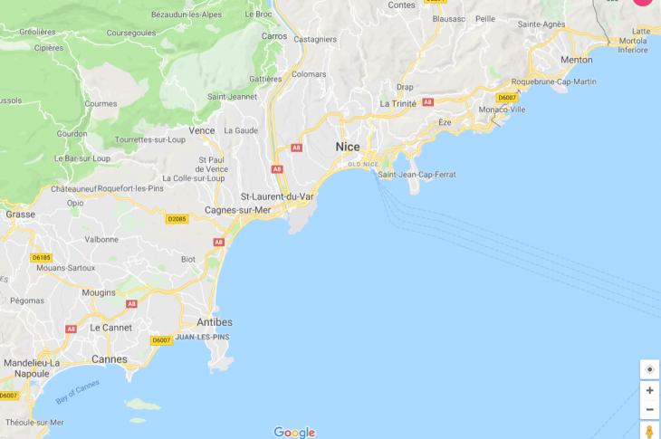 Ranskan Riviera kartta, nähtävää, kokemuksia