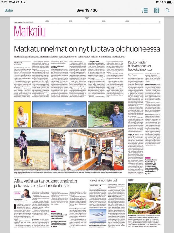 Lännen median lehdissä matkabloggaajien mietteitä matkailusta korona-aikaan, matkailu, matkablogi, korona