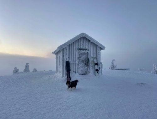 Valtavaaran huiputus Kuusamo talvella palovartijan maja talvireitti