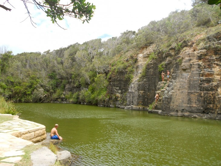 Green Poolissa jotkut uskaltautuivat uimaan levästä huolimatta.