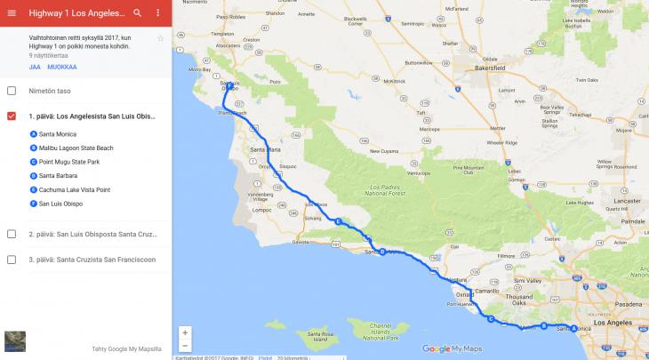 Legendaarinen Highway 1 Los Angelesista San Franciscoon