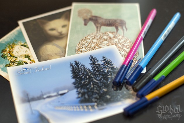 Postcards and pens