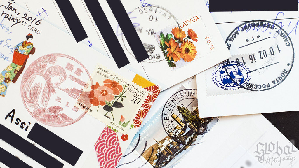 Stamps of my postcrossing cards