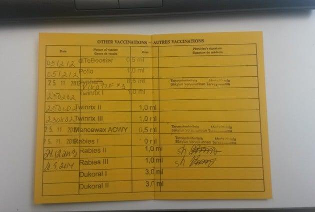Kansainvälinen roktuskortti sisältä. Merkinnät jatkuvat vielä seuraavalle aukeamalle.