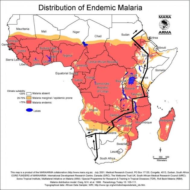 Afrikan malariakartta. Suunniteltu reitti on esitetty mustalla viivalla.