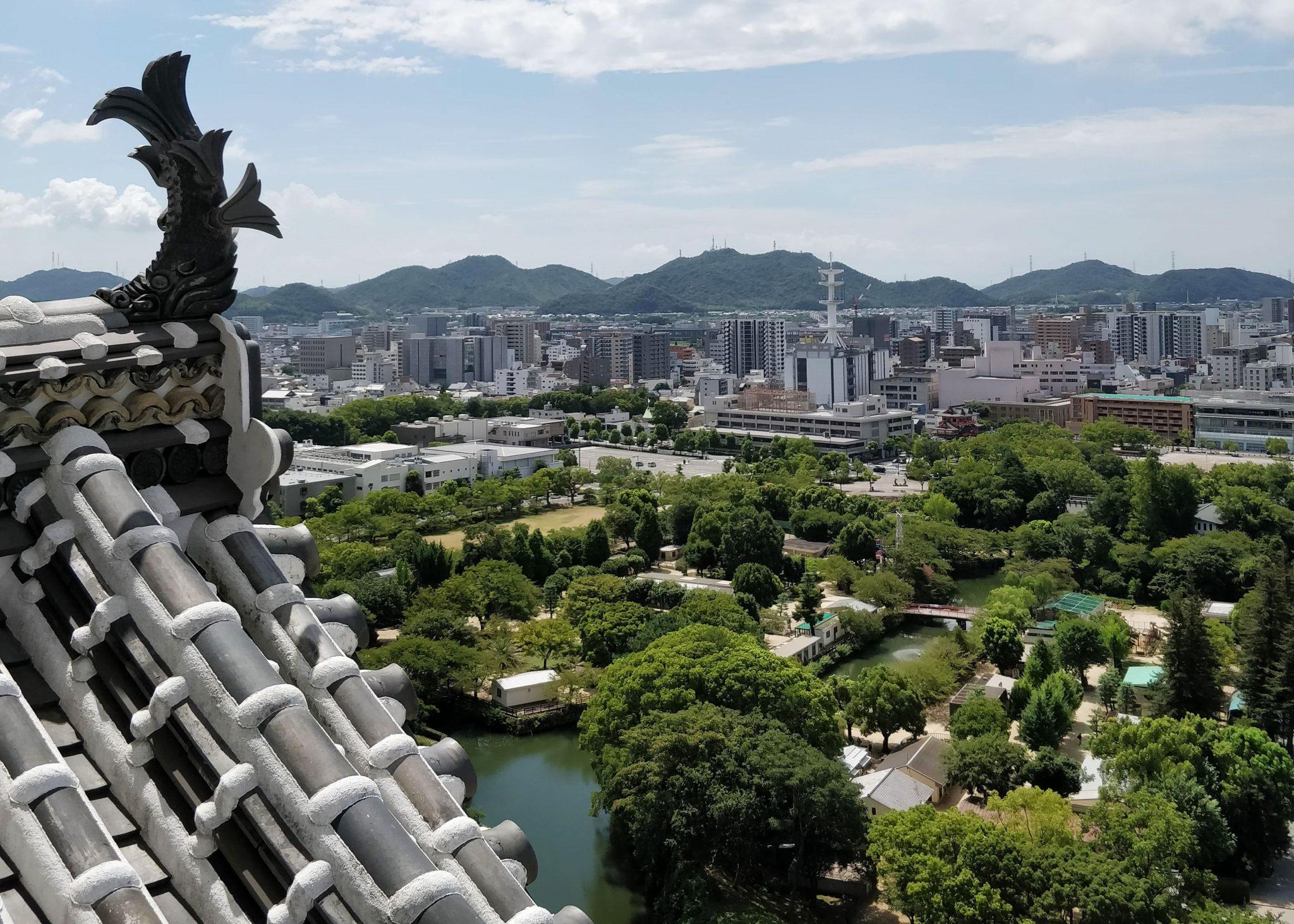 Maisemia Himejin linnan ylimmästä kerroksesta