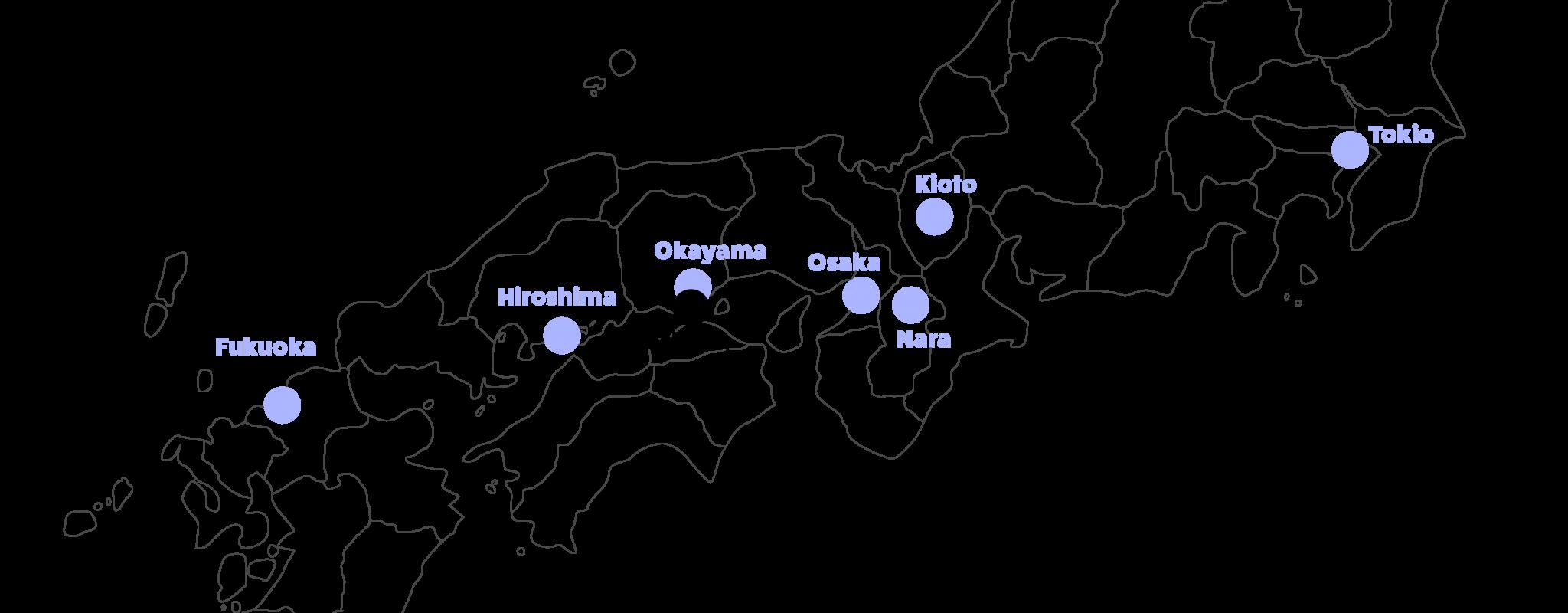 keski-japanin kartta, korostettuna Naoshima