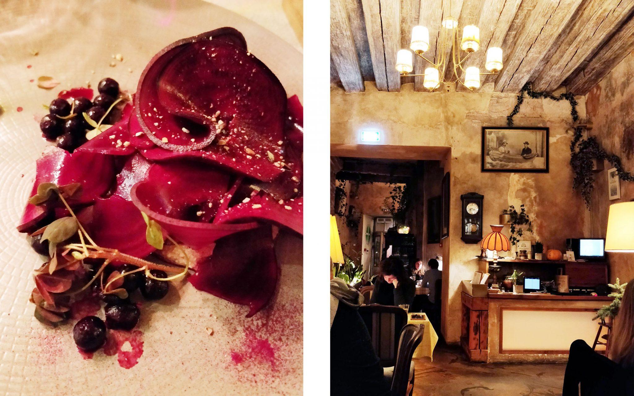 Von Krahl Aed ravintolan punajuuriannos ja ravintolasali