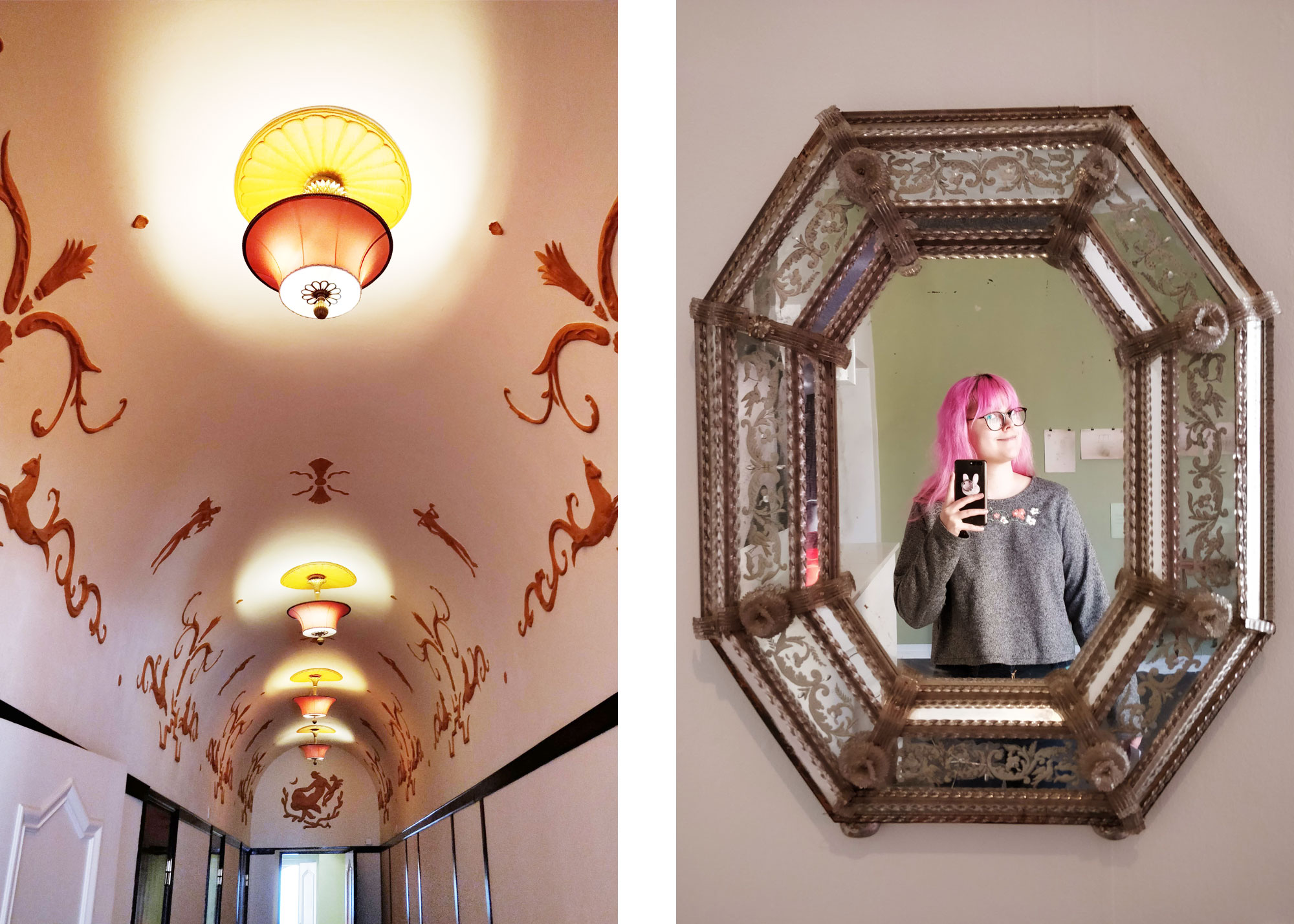 kartanon koristeellinen katto ja peili-selfie vanhasta peilistä