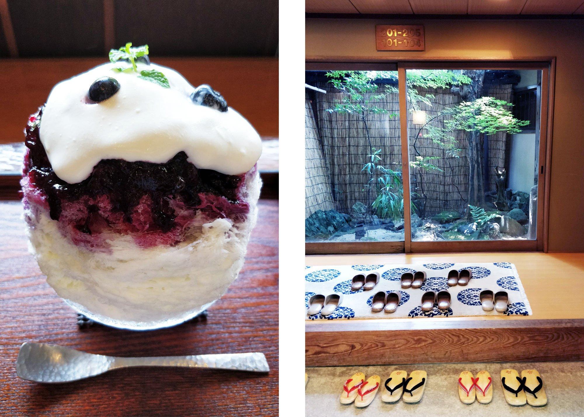 Kakigori-jäätelöannos ja kuva ryokanista, missä on tohveleita sisäpihan edessä