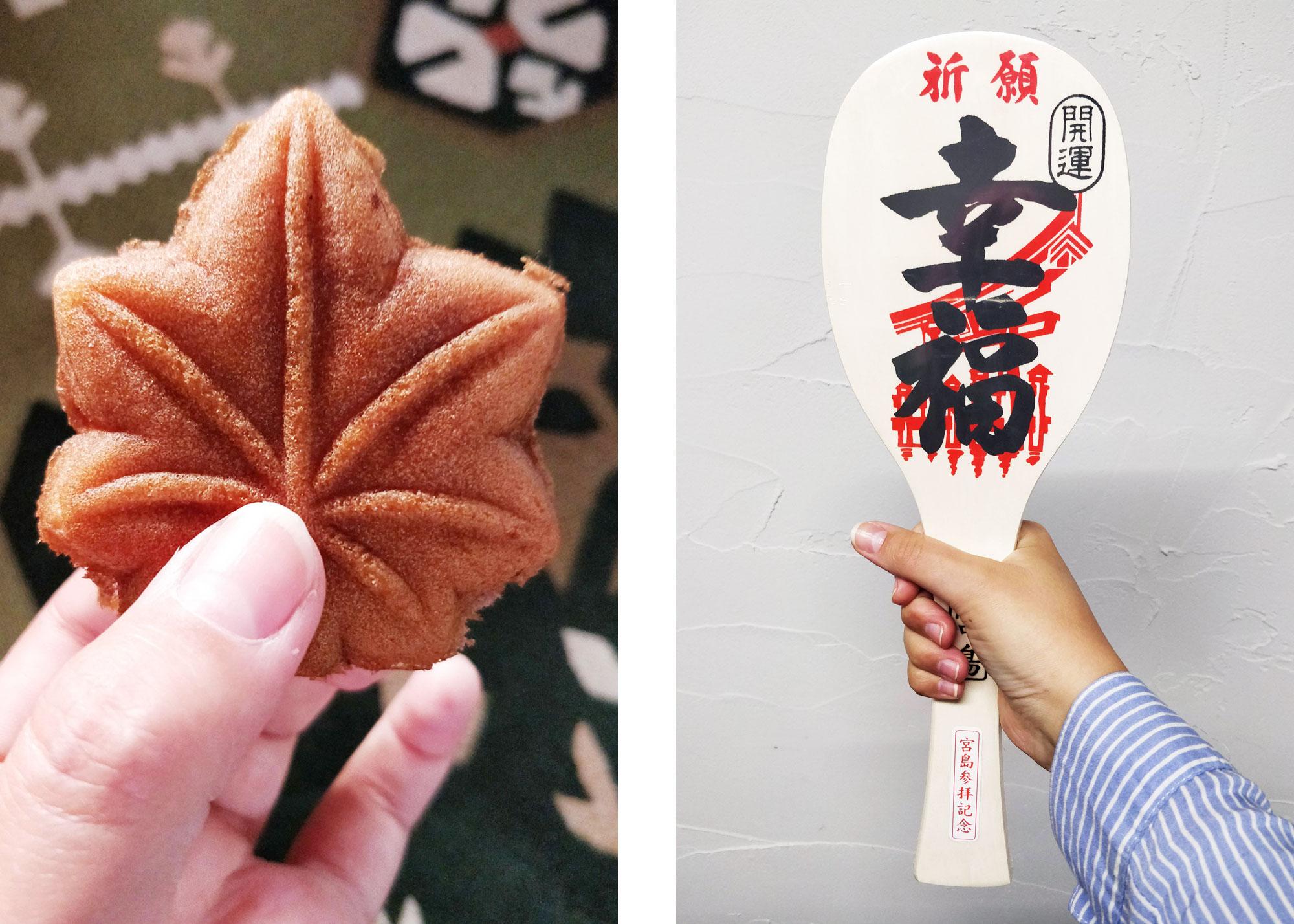 Miyajiman vaahteranlehden muotoinen leivos kädessä ja toinen kuva, jossa kädessä miyajiman jättikokoinen riisikauha jossa on kanjeja