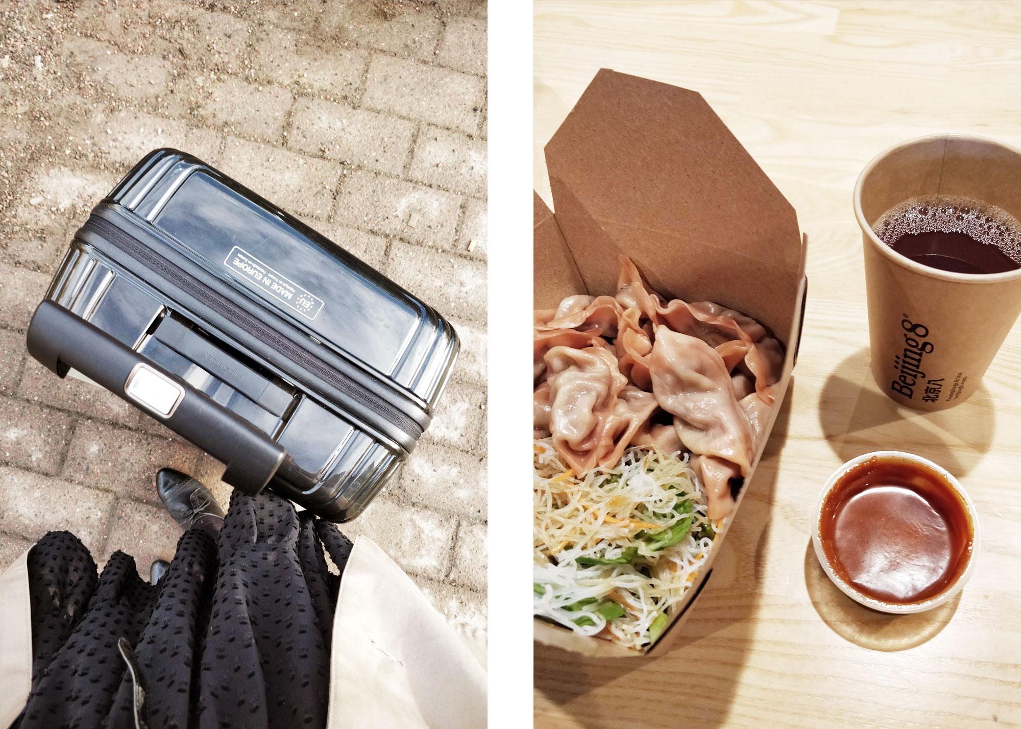 kaksi kuvaa: matkalaukku ja jalat sekä beijing8 kasvisdumplingseja ja teetä