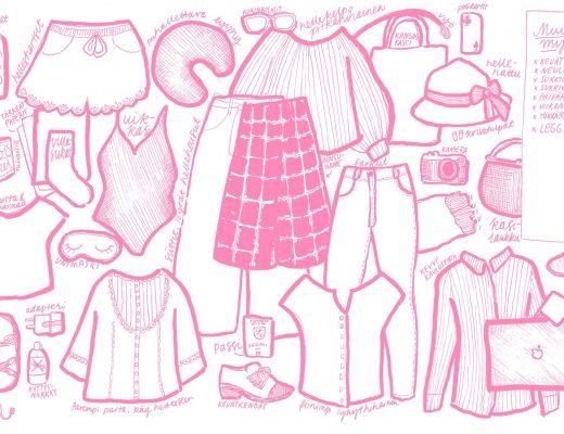 piirretty kuvitus pakkauslistasta, vaatteita ja muuta tavaraa jota pakata mukaan