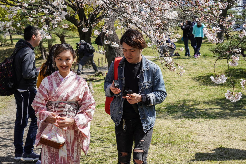 tyttö kimonossa ja ihmisiä kirsikankukkapuiden alla