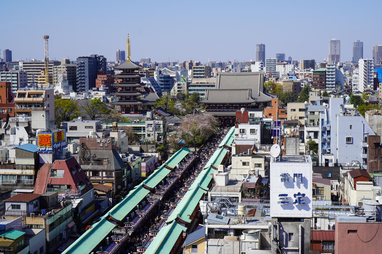 asakusan sensoji-temppeli ylhäältä päin