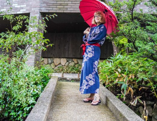wearing yukata at Gosho Bessho