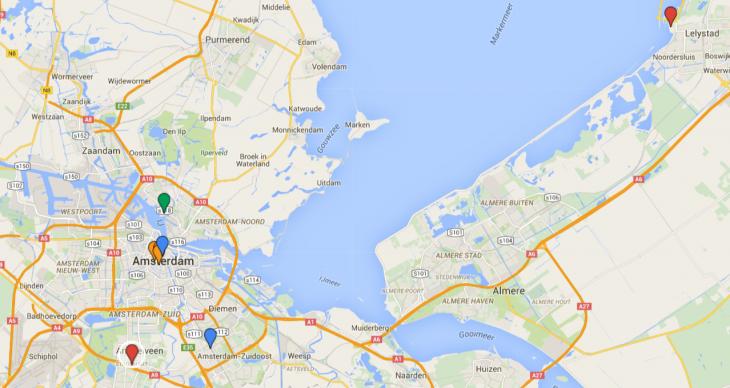 Shoppailu Amsterdamissa kartta