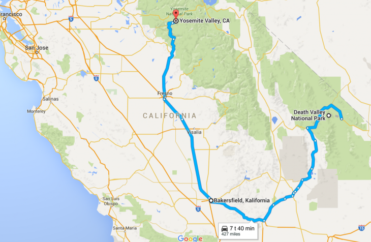 Death Valley to Yosemite route