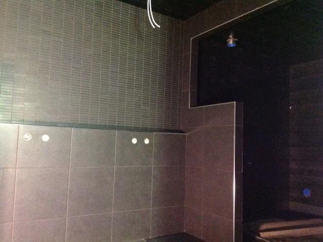 Kylpyhuone ja sauna ovat jo hyvällä mallilla.