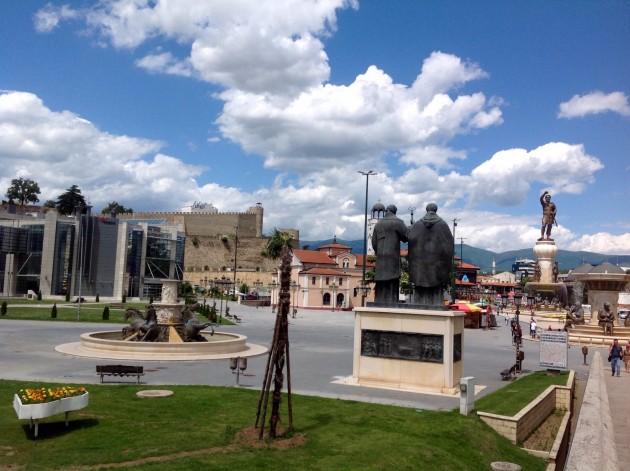 Makedonia-aukiota patsaineen