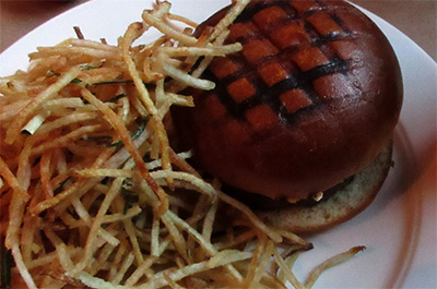 Chargrilled Burger with Roquefort Cheese & Shoestring Fries, $21
