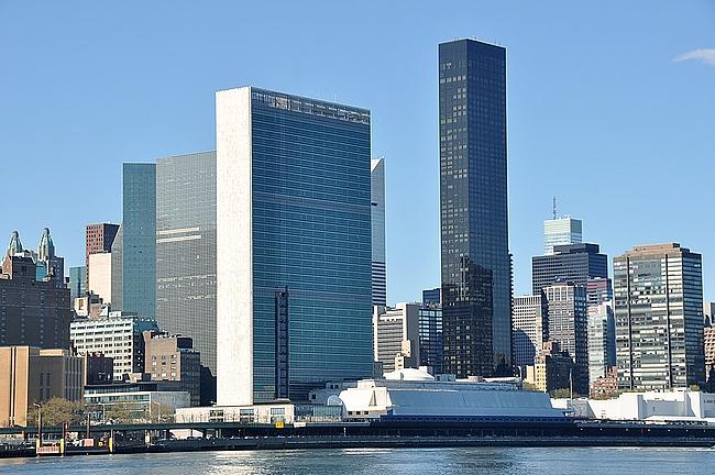 YK:n päämaja Hudson joen rannassa
