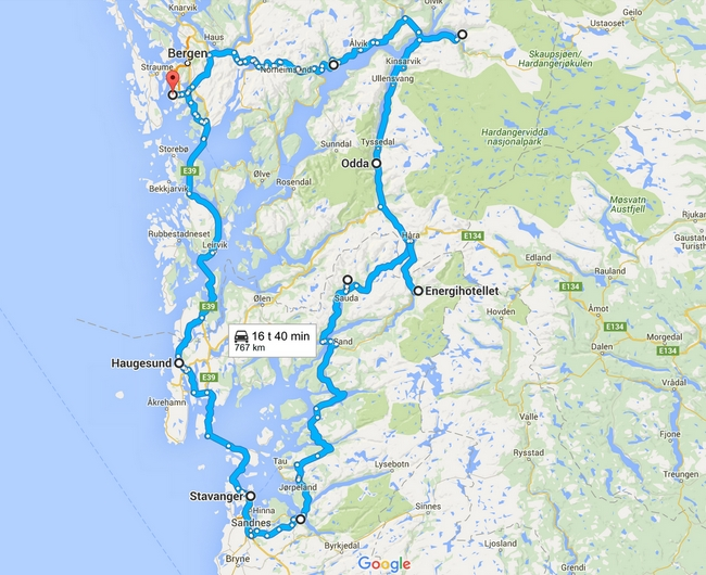 Vuoden 2012 reitti - Napsauta kuvaa, niin kartta aukeaa Google Mapsiin.
