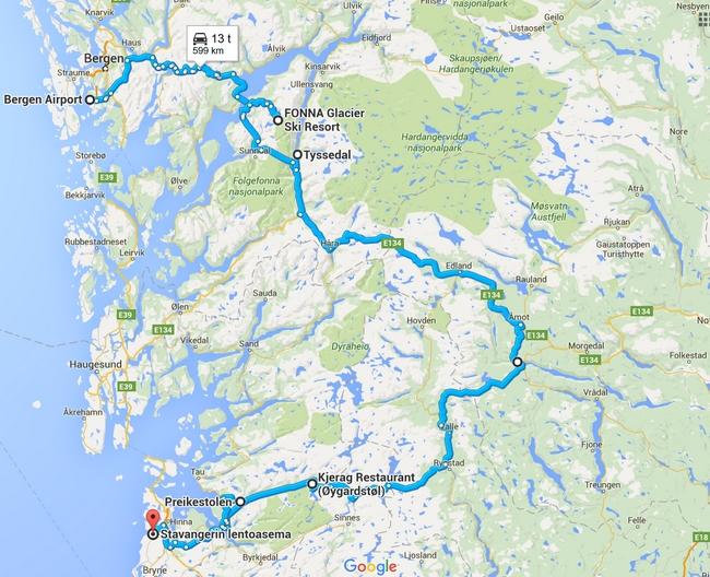 Alustava reitti - Napsauta kuvaa, niin kartta aukeaa Google Mapsiin.