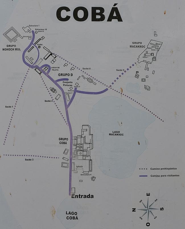Coban maya-kaupungin kartta.
