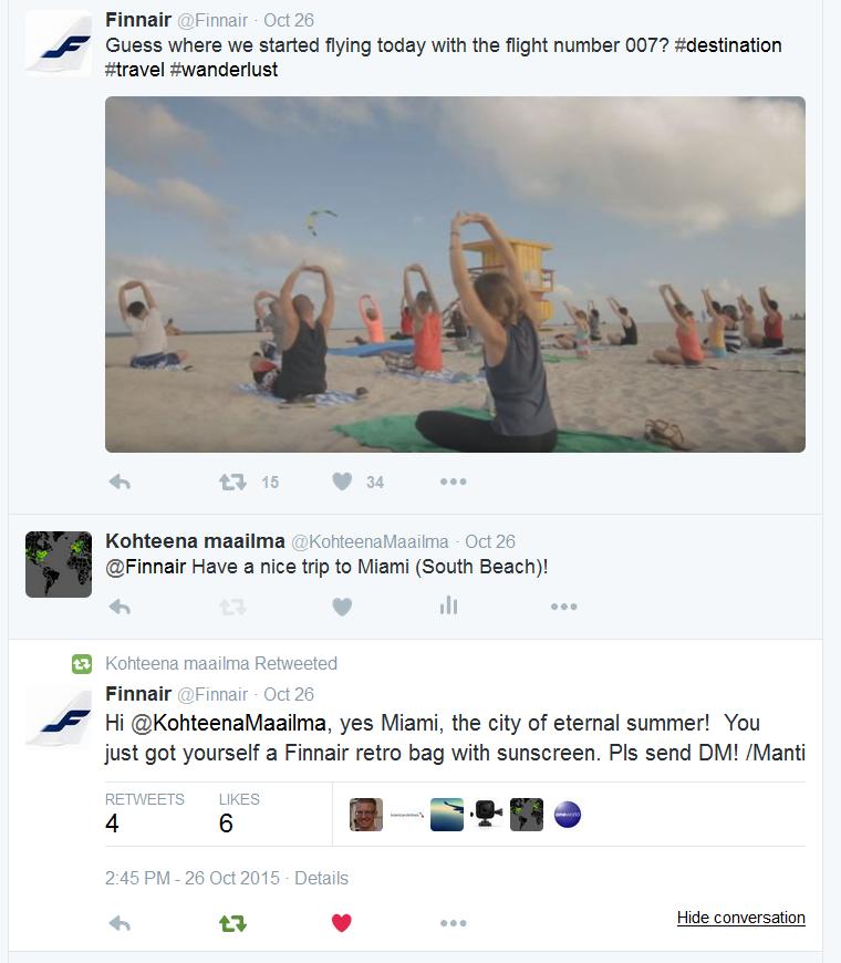 Finnair retro-bag nopeasta vastauksesta.