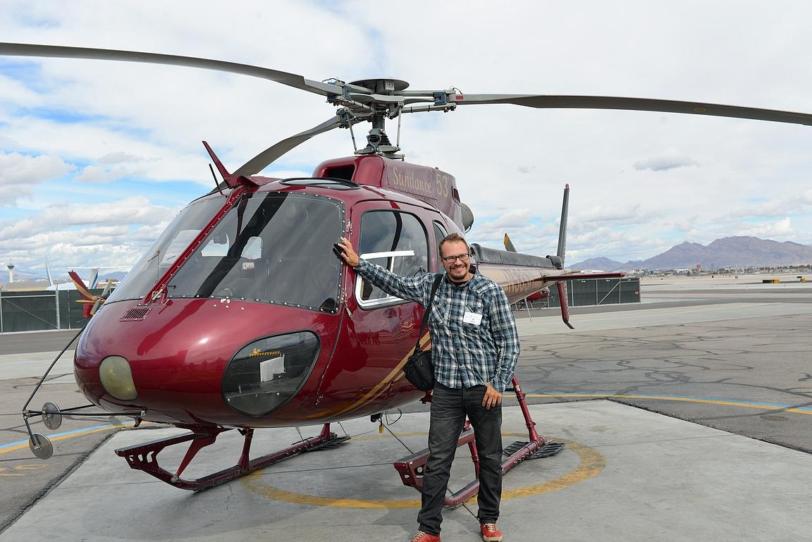 ... tai helikopterilla.