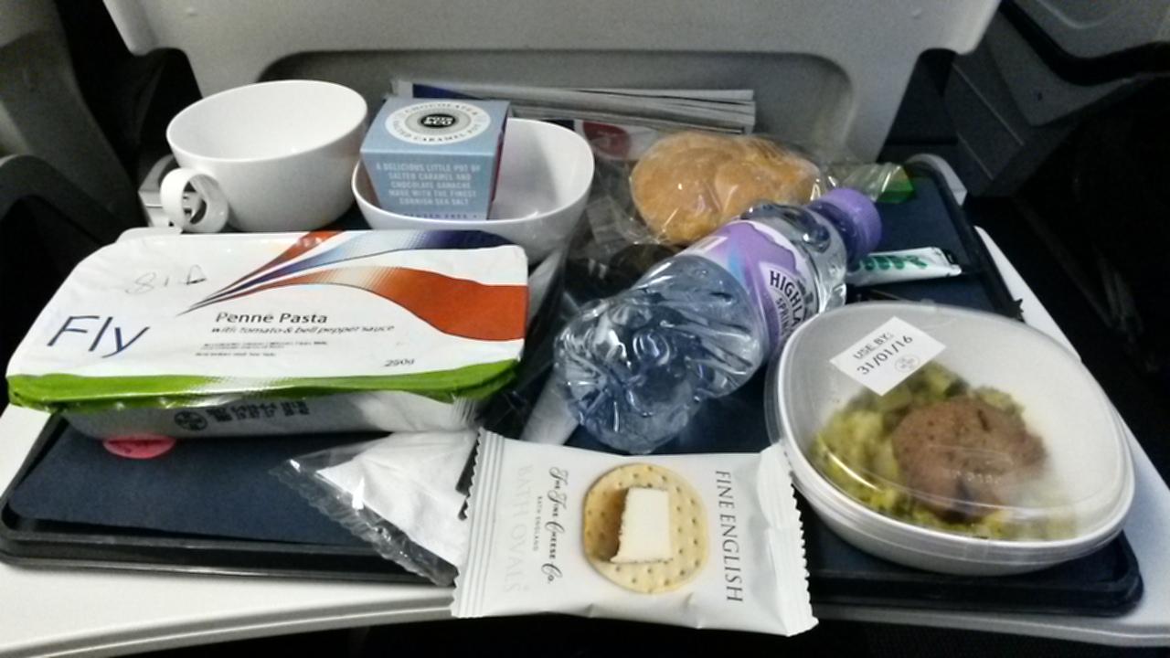 BA A380 Economy vegetarian dinner