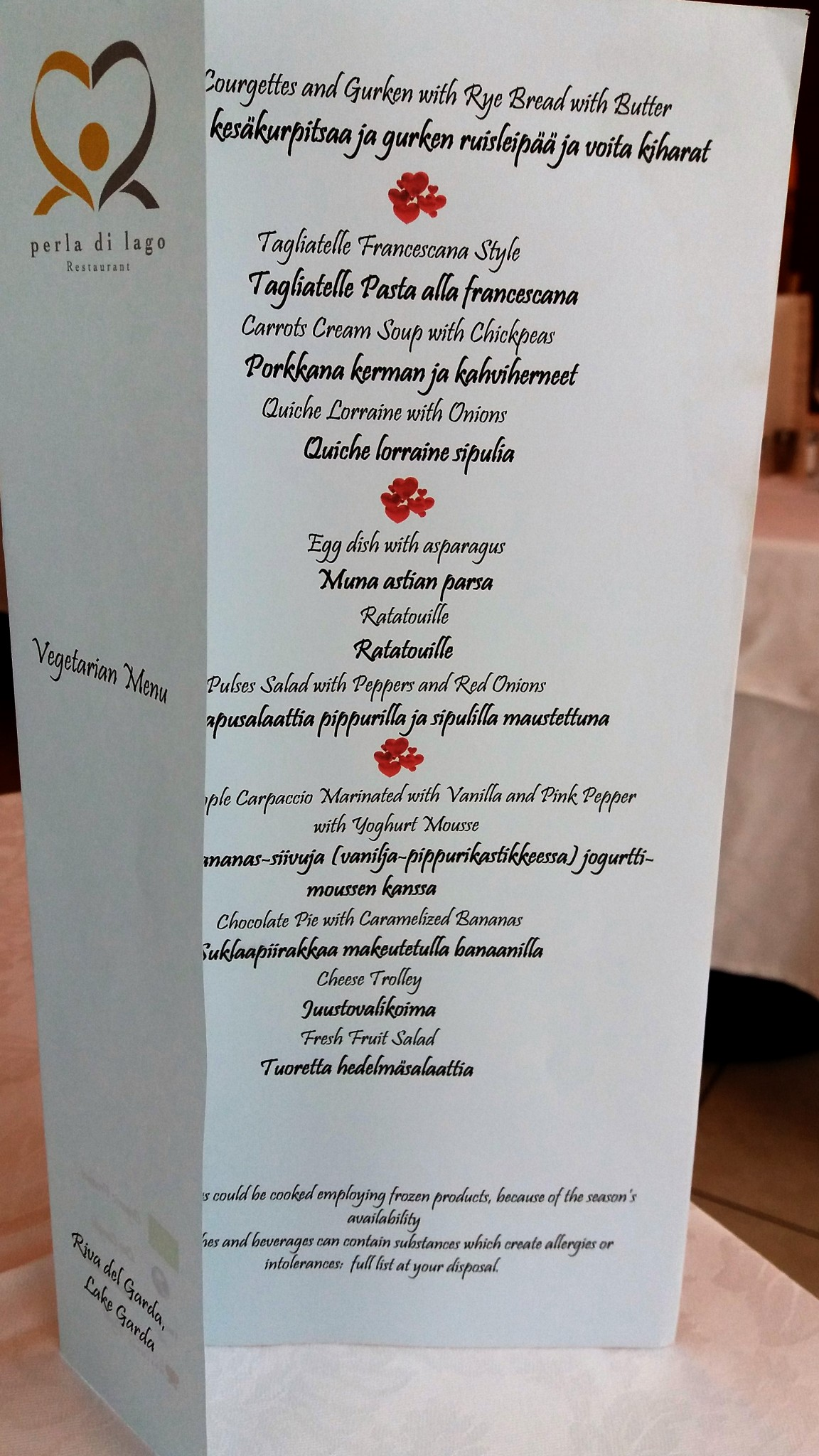 Villa Nicolli Romantic Resort dinner menu